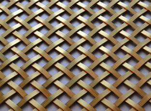 Brass Woven Grille Diamond Plain 5mm, 10mm