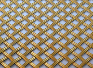 Brass Woven Grille Reeded Diamond 5mm, 10mm