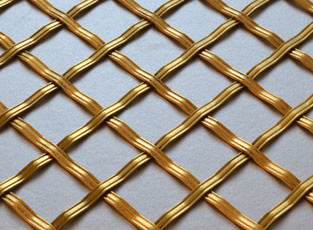 Brass Woven Grille Reeded Diamond 5mm, 25mm