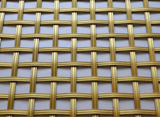 Brass Woven Grille Reeded Square 5mm, 13mm